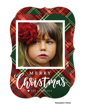 Plaid Merry Christmas Holiday Photo Card