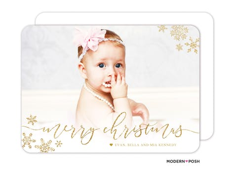 Glistening Merry Christmas Snowflakes Foil Pressed Holiday Photo Card