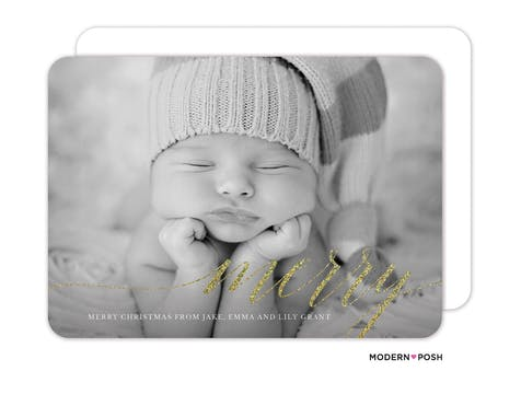 Modern Merry Foil Pressed Holiday Photo Card