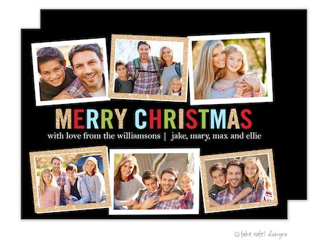 Merry Christmas Block Multi Holiday Photo Card