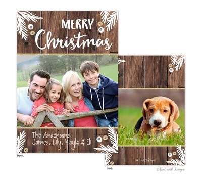 Rustic Merry Christmas Boughs Glitter Holiday Photo Card