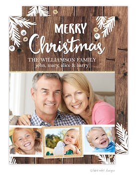 Rustic Merry Christmas Boughs Glitter Multi Holiday Photo Card
