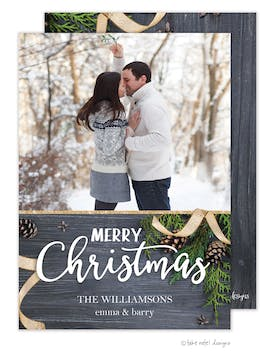 Rustic Ribbon Merry Christmas Holiday Photo Card