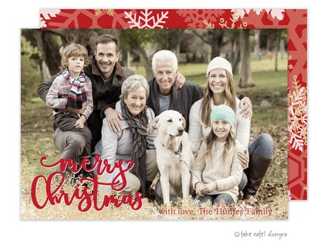 Merry Christmas Snowflakes Holiday Photo Card