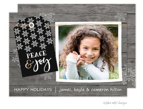 Rustic Peace & Joy Holiday Photo Card