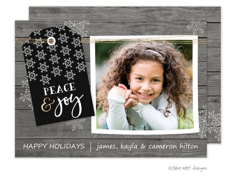 Rustic Peace & Joy Holiday Photo Card