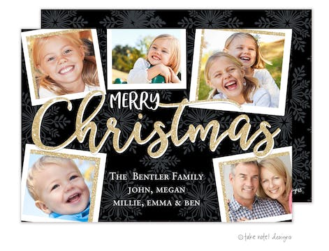 Merry Christmas Multi Photo Scatter Holiday Photo Card