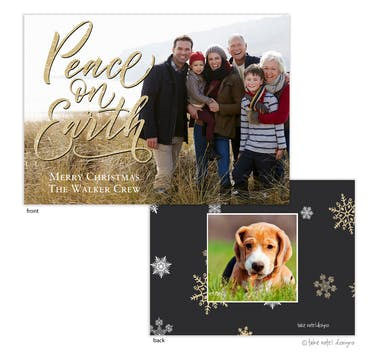 Shimmering Peace on Earth Holiday Photo Card