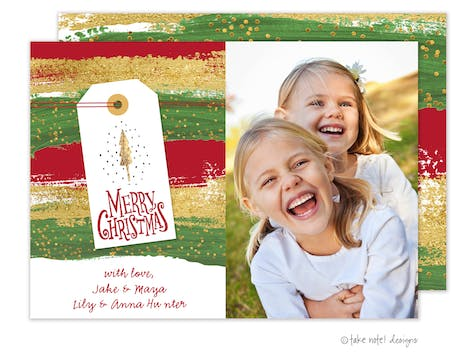 Painted Stripes Merry Christmas Holiday Photo Card
