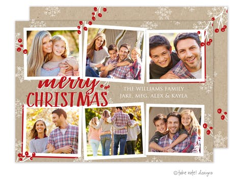 Merry Christmas Kraft Multi Holiday Photo Card