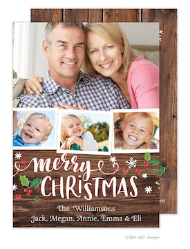 Rustic Merry Christmas Scatter Frames Holiday Photo Card