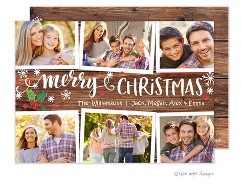 Rustic Merry Christmas Multi Frames Holiday Photo Card