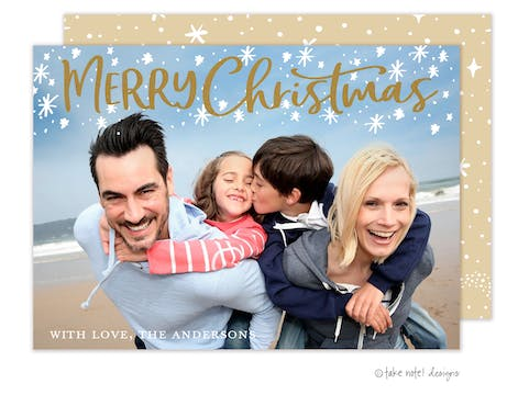 Starry Merry Christmas Foil Pressed Holiday Photo Card