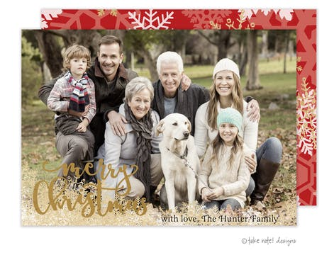 Merry Christmas Snowflakes Foil Pressed Holiday Photo Card