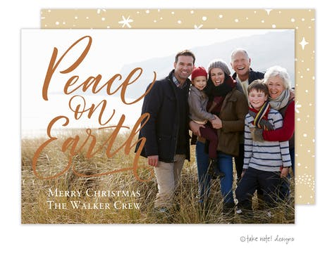 Peace on Earth Foil Pressed Holiday Photo Card