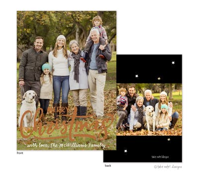 Merry Christmas Stars Foil Pressed Holiday Photo Card