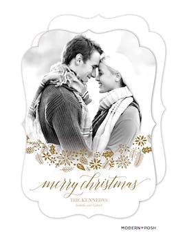 Shining Merry Christmas Foil Pressed Holiday Photo Card