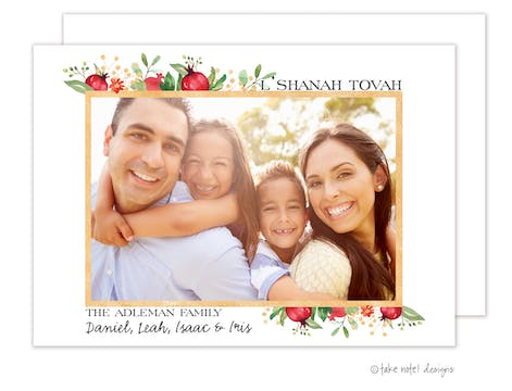Beautiful Watercolor Vine Frame Holiday Photo Card
