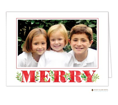Merry Leaves Folded Holiday Photo Card