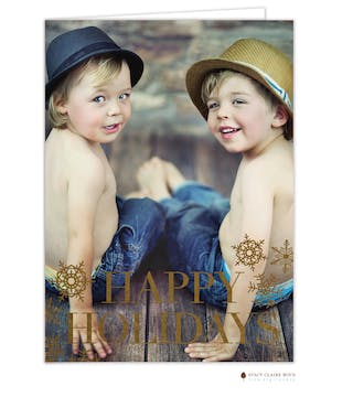 Snow Shine Foil Pressed Folded Holiday Photo Card