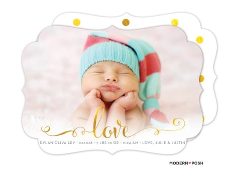 Glowing Love Baby Photo Birth Announcement