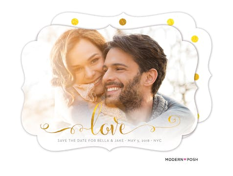 Glowing Love Save The Date Photo Card
