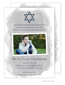 Slanted Grey Wash Star of David Photo Card