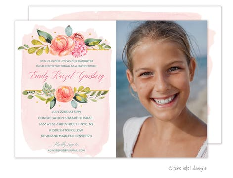 Blush Wash Floral Photo Card