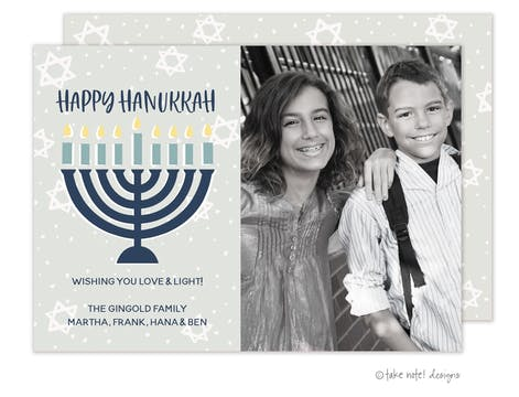 Modern Menorah Photo Card