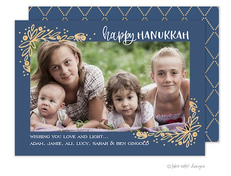 Golden Vines Hanukkah Corner Frame Photo Card