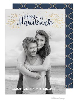 Golden Vines Hanukkah Photo Card