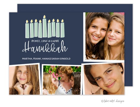 Peace, Love & Light Hanukkah Collage Photo Card