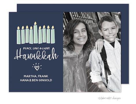 Peace, Love & Light Hanukkah Photo Card