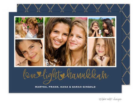 Love Light Hanukkah Foil Pressed Photo Card