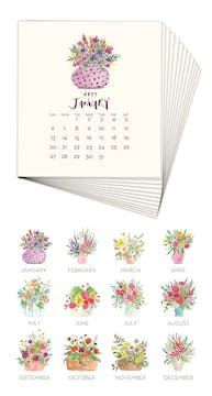 Floral Bouquets 2019 Watercolor Desk Calendar Refill