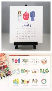Watercolor Variety 2019 Desk Calendar & Easel
