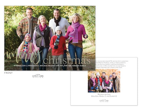 Glittery Merry Christmas Foil Holiday Photo Card