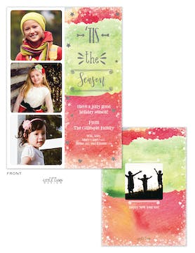 Tis the Season Watercolor Holiday Photo Card