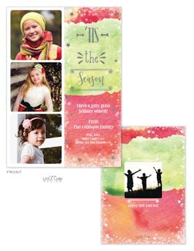 Tis the Season Watercolor Holiday Photo Card