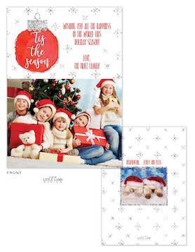Tis the Season Sparkling Ornament Holiday Photo Card