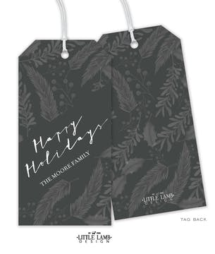 Achromatic Happy Holidays Gift Tag