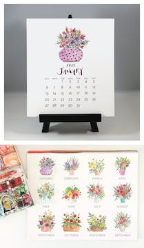 Floral Bouquets 2019 Watercolor Desk Calendar & Easel