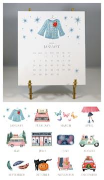 Hand-sparkled 2019 Desk Calendar & Easel