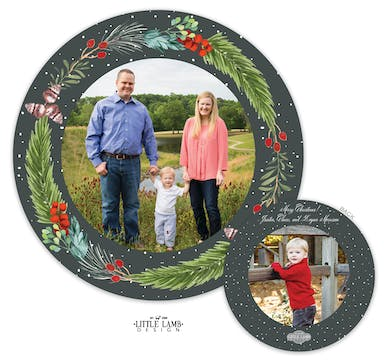 Winter Greenery Circle Holiday Photo Card
