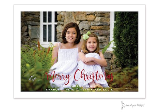 Modern Script Merry Christmas Flat Holiday Photo Card
