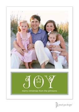 Joy Ornaments Green Flat Holiday Photo Card
