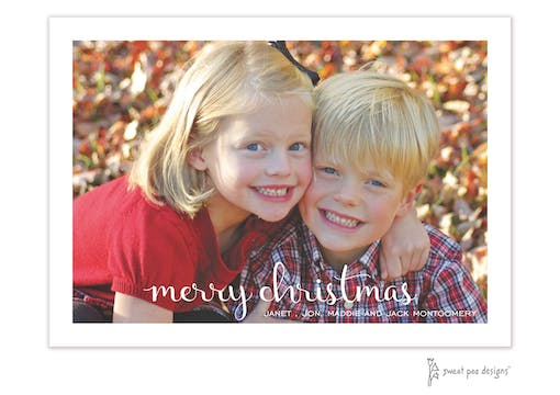 Cordial Script Merry Christmas Flat Holiday Photo Card