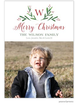 Merry Monogram White Flat Holiday Photo Card