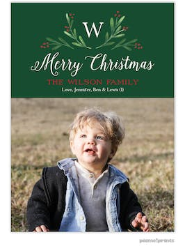 Merry Monogram Green Flat Holiday Photo Card