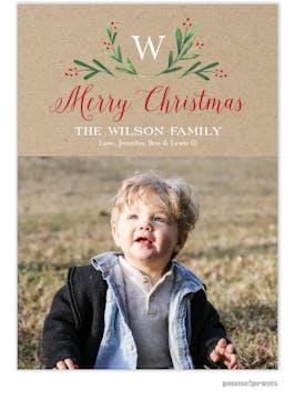 Merry Monogram Kraft Flat Holiday Photo Card